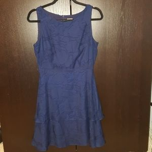 TAYLOR Sleeveless Fit & Flare Dress in Navy Blue